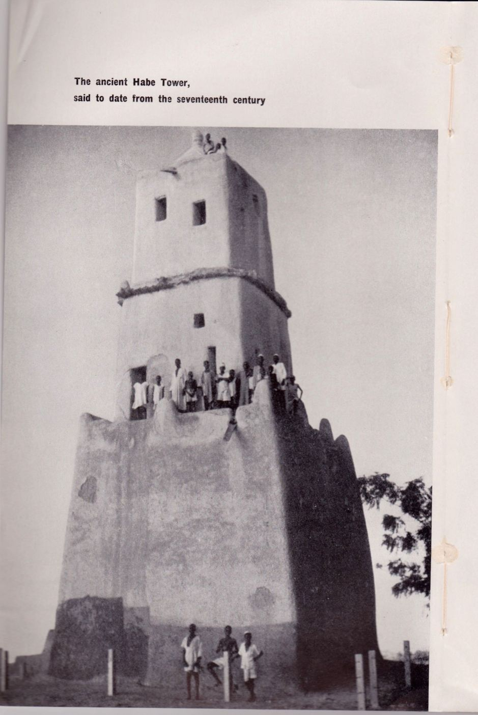 Gobarau Minaret built between 1348-1398 using baked clay and mud. Nigeria Magazine #51, 1956