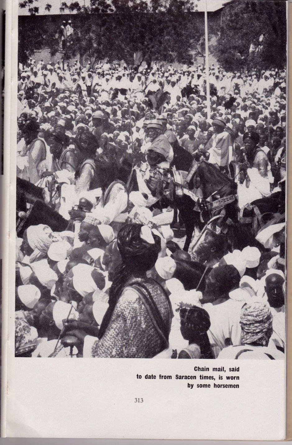 Nigeria Mag 1956, horsemen clad in chain mail.